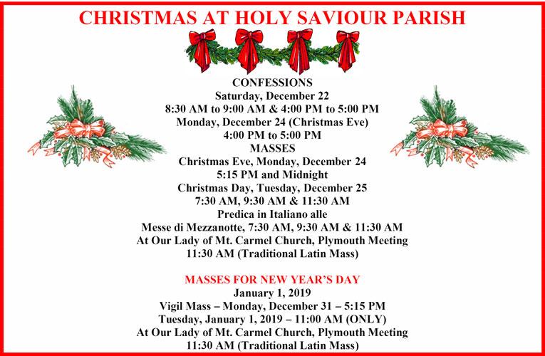 Christmas Schecule at Holy Saviour